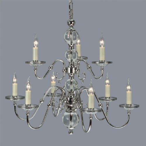 Tilburg Nickel 9 Light Chandelier (Contemporary, Crystal, Modern Classic, Large Chandelier) CA20P9N